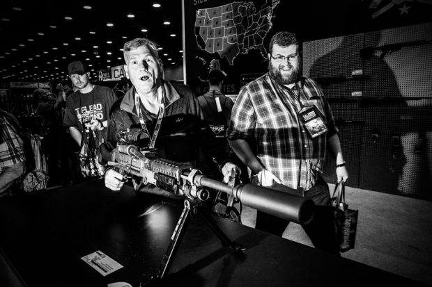 guns and ammo on the floor of the nra convention